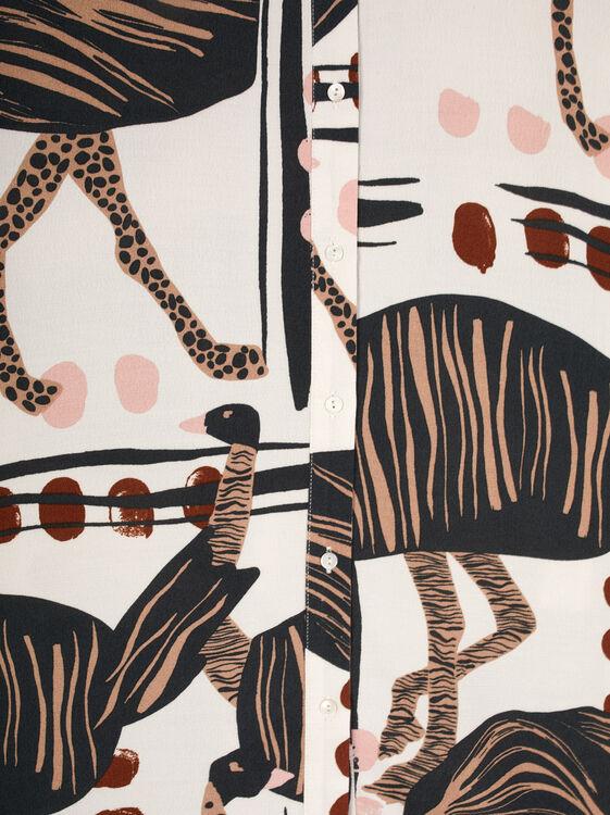 Ostrich Print Flowing Shirt, Ecru, hi-res