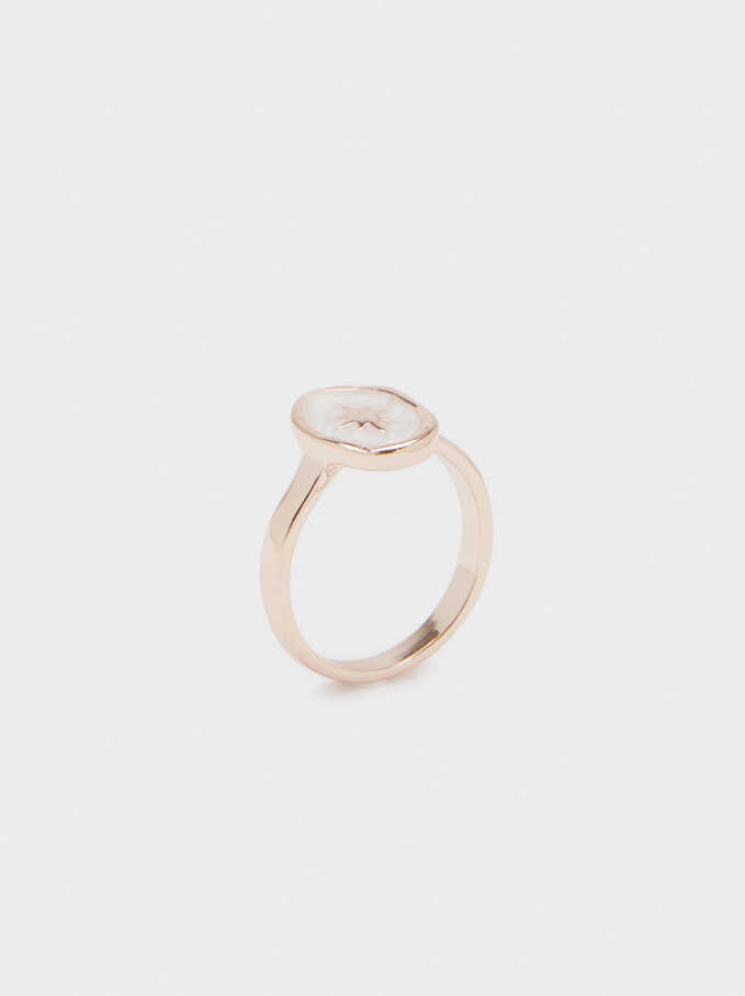 Pink Enamel Ring, Orange, hi-res