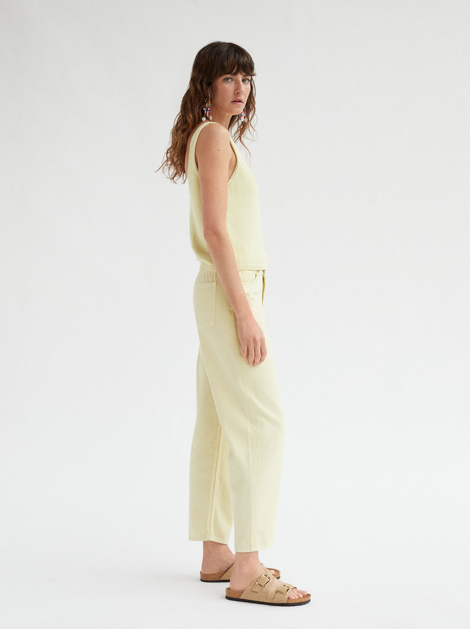 Straight High-Rise Trousers, Yellow, hi-res