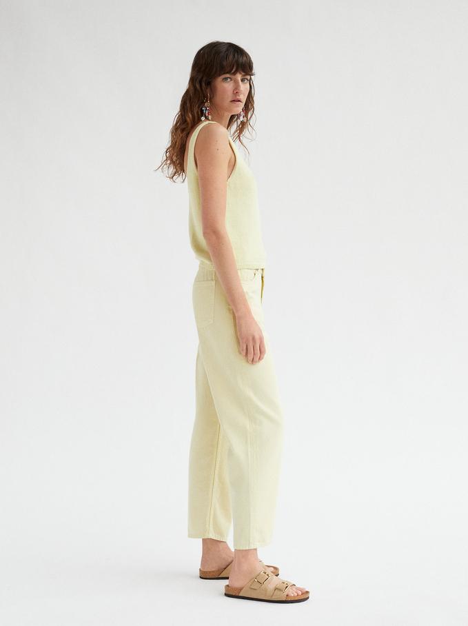Pantalon Droit Taille Haute, Jaune, hi-res
