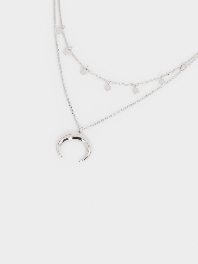 Short 925 Silver Necklace With Horn Pendant, Silver, hi-res