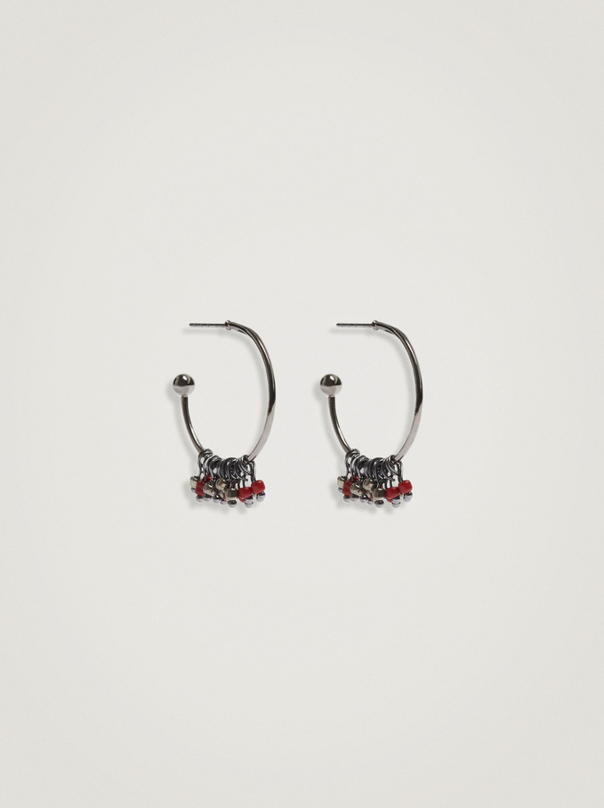 Small Hoop Earrings With Beads, Bordeaux, hi-res