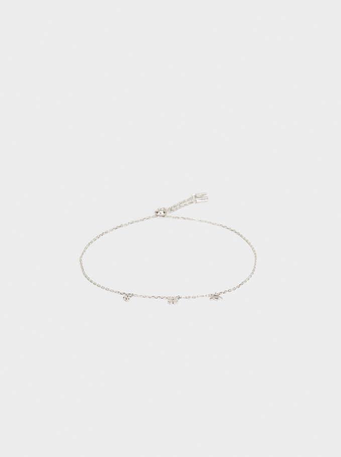 925 Silver Adjustable Bracelet With Zirconia, Silver, hi-res