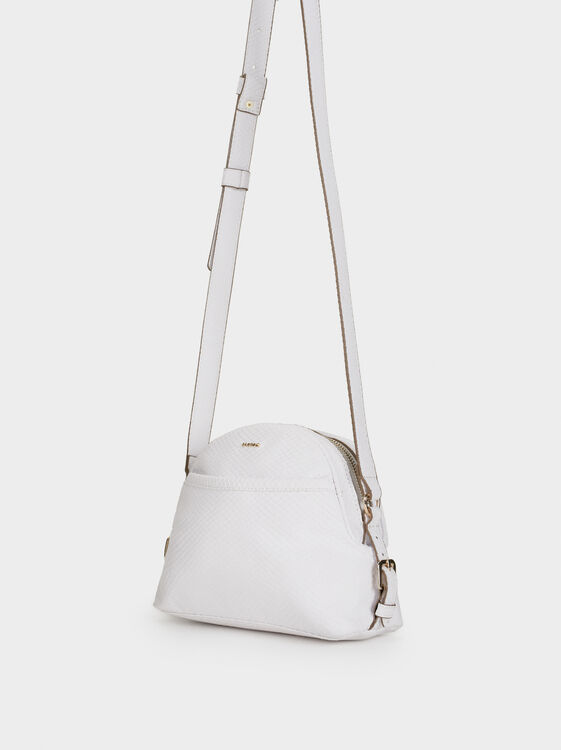 Embossed Faux Snakeskin Crossbody Bag, White, hi-res