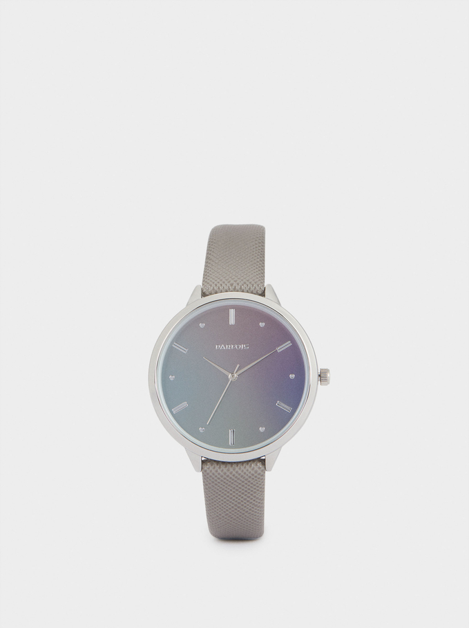 Watch With Contrasting Face, Grey, hi-res