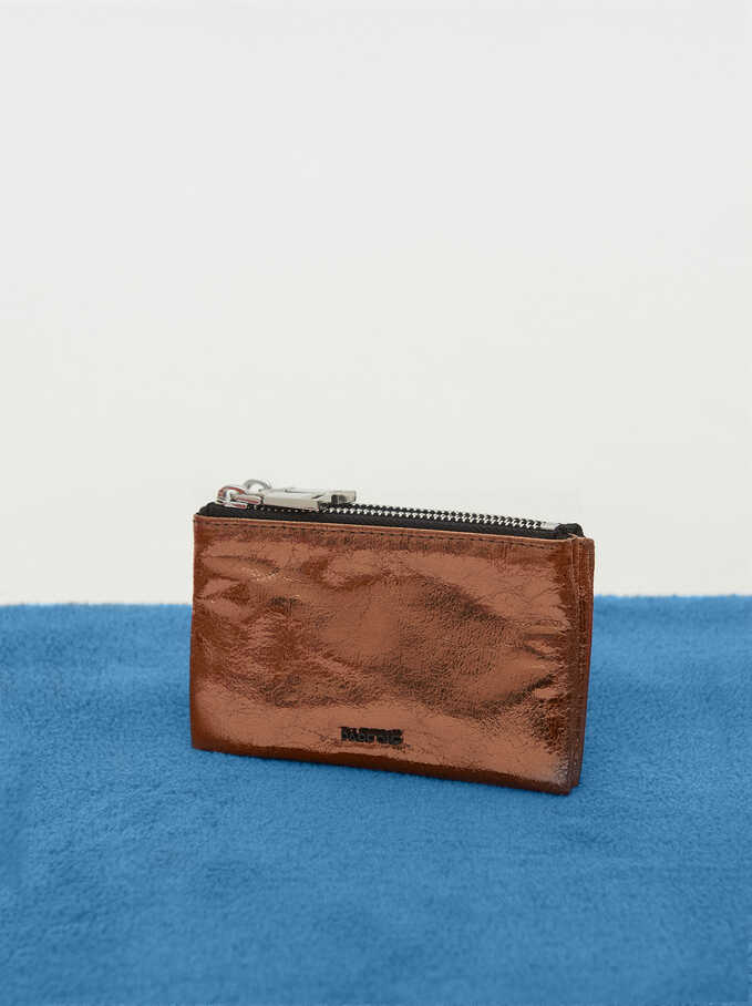 Monedero Desmontable Textura Metalizada, Naranja, hi-res