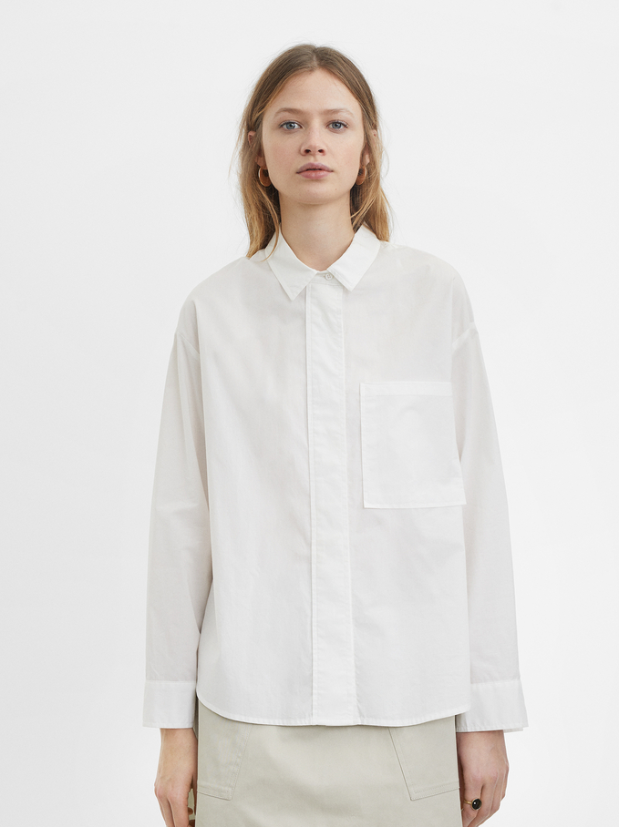 Shirt With Pocket, White, hi-res