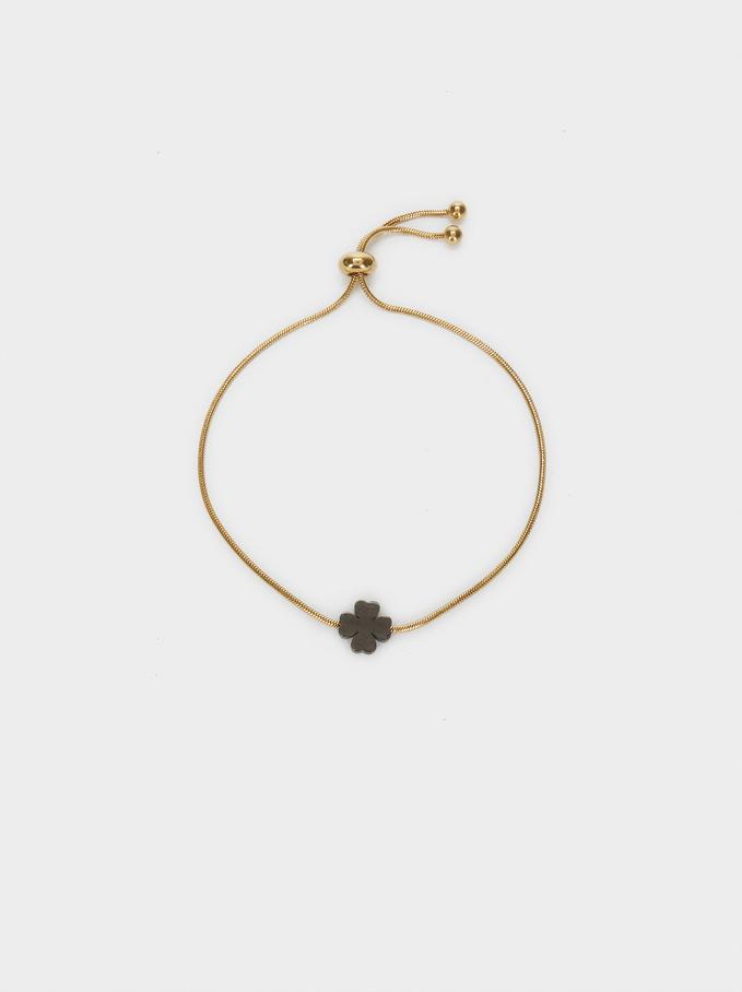 Bracelet Réglable En Acier Trèfle, Doré, hi-res