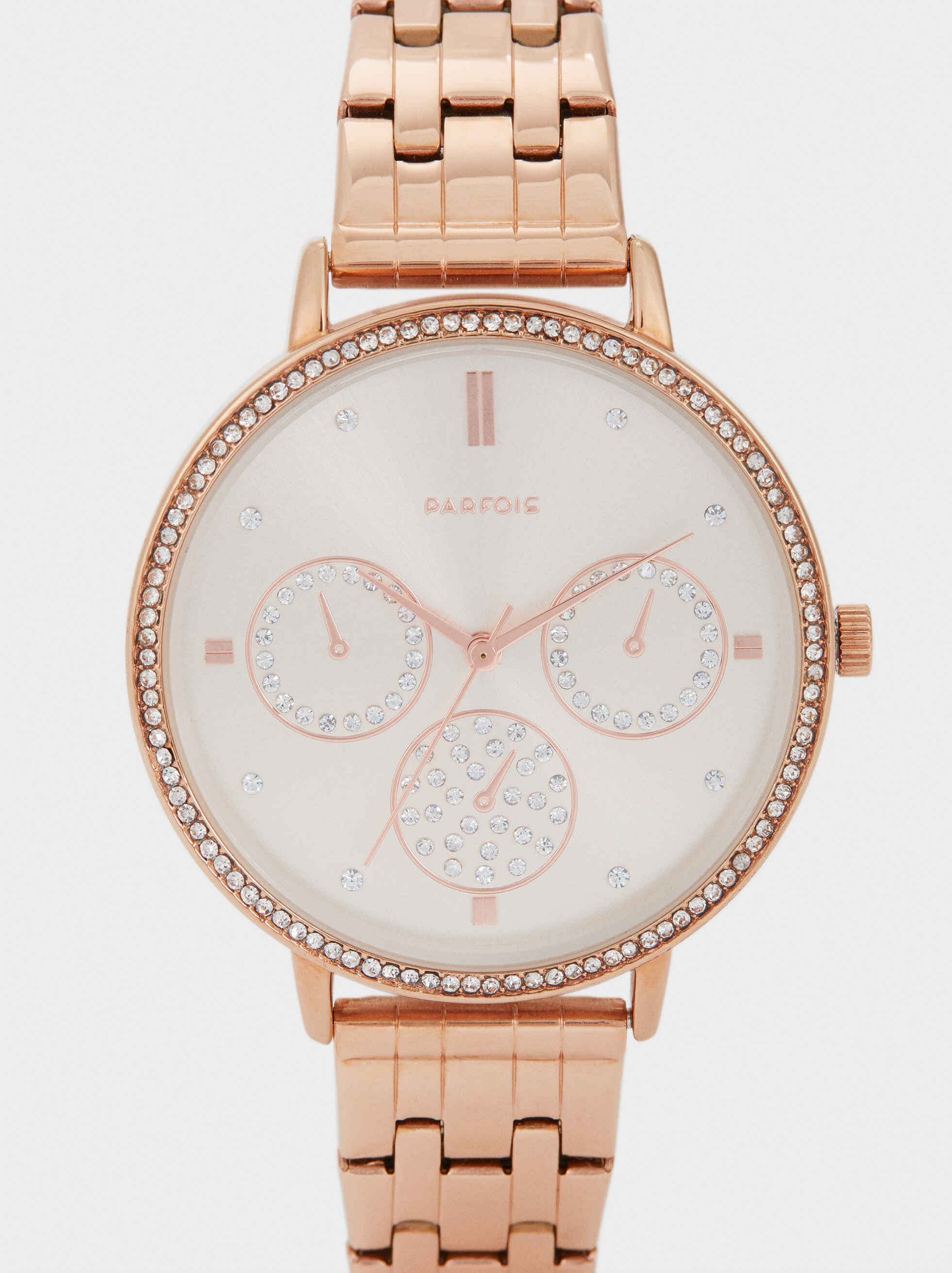 Watch With Stainless Steel Strap And Gems On The Face, Orange, hi-res