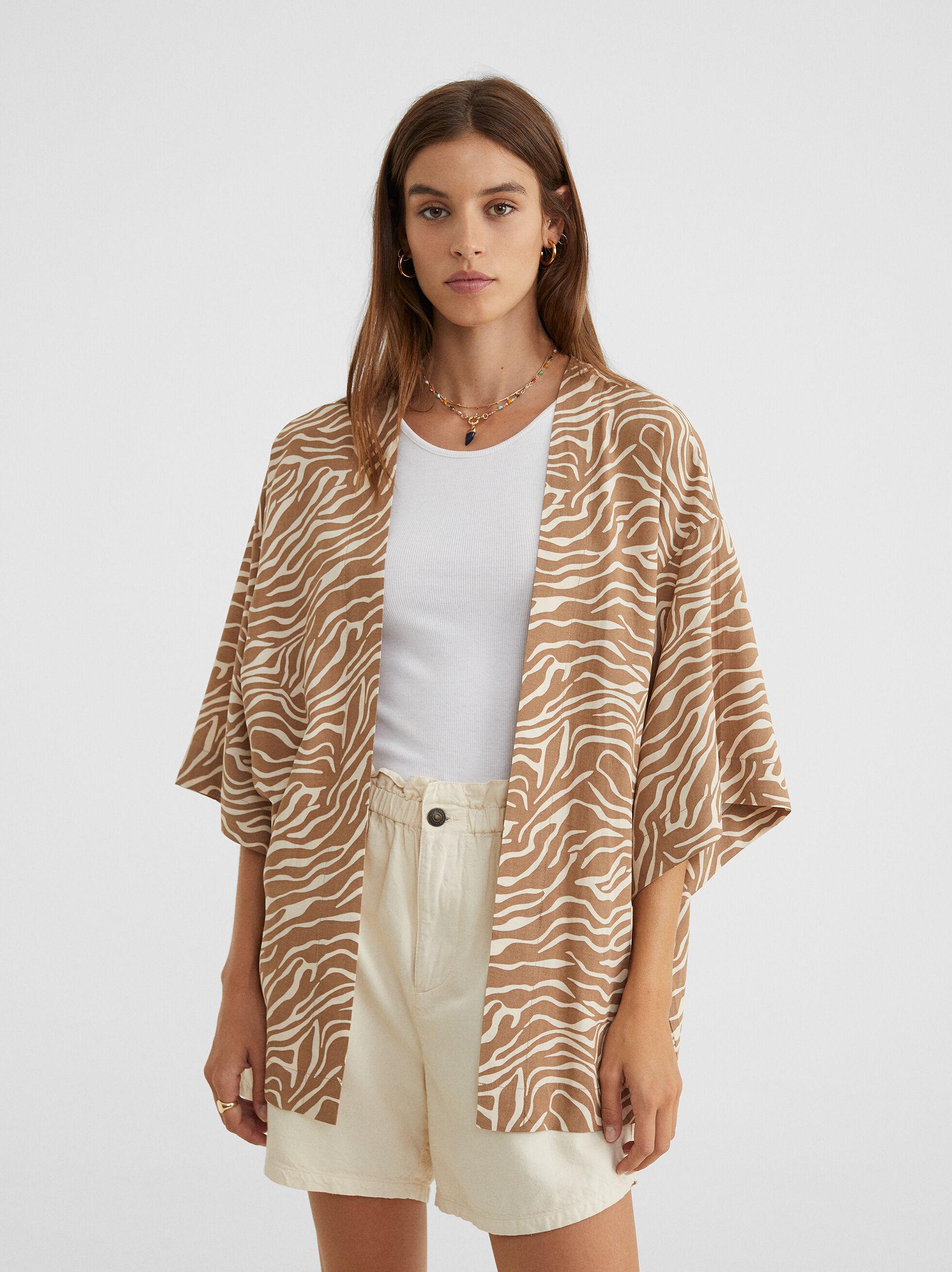 Printed Oversize Kimono, Brown, hi-res