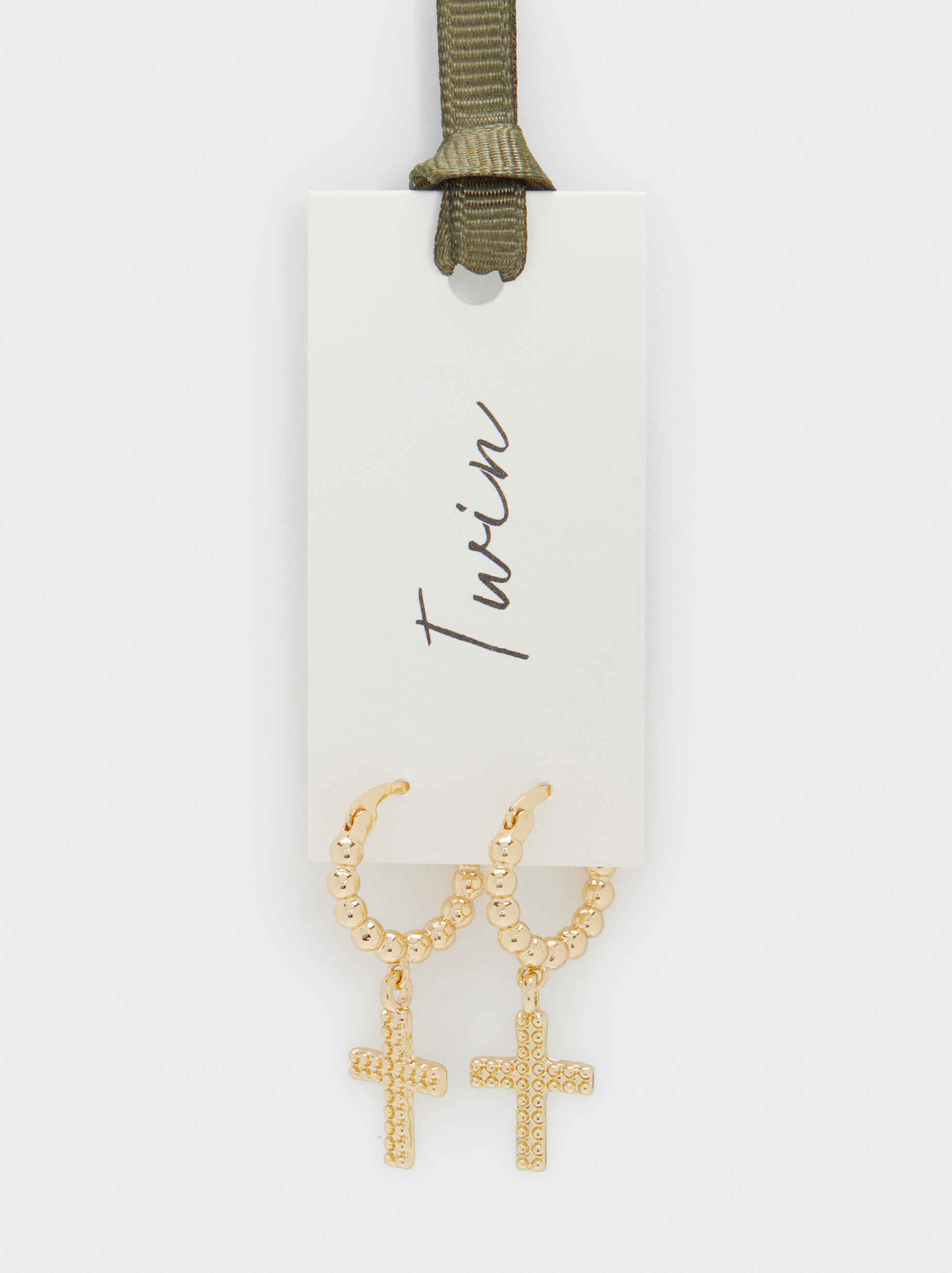 Medium Hoop Earrings With Cross, Golden, hi-res