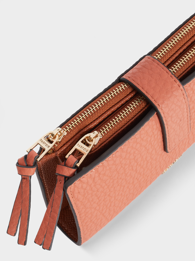 Embossed Purse With Zip Fastening, Pink, hi-res