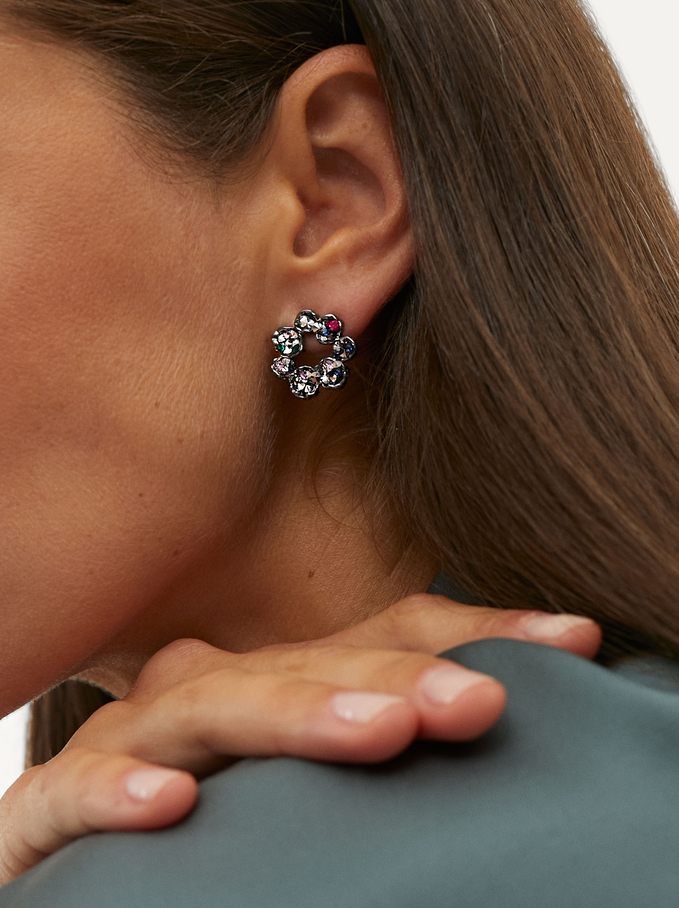Short Flower Earrings, Multicolor, hi-res