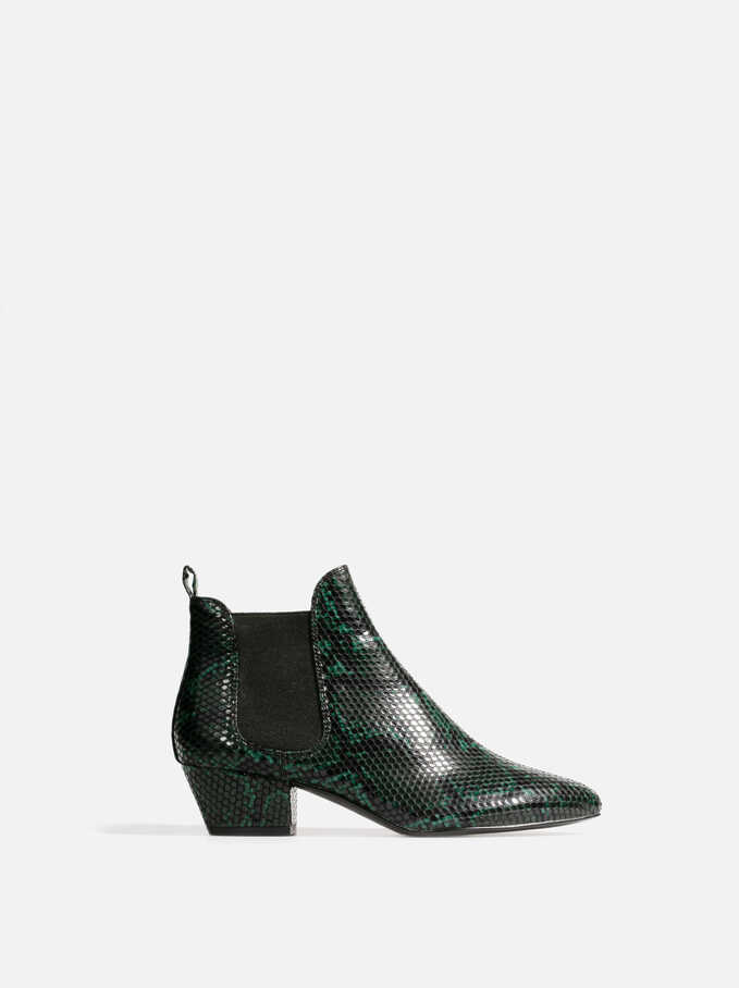 Faux Snakeskin Chelsea Boots, Green, hi-res