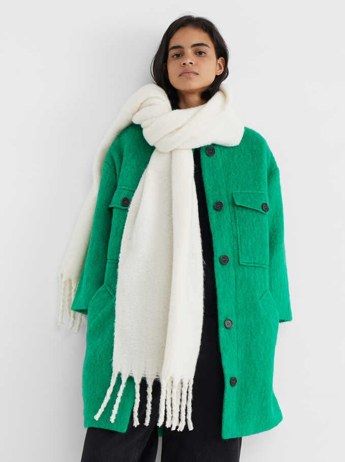 Blanket Scarf With Fringing, Ecru, hi-res
