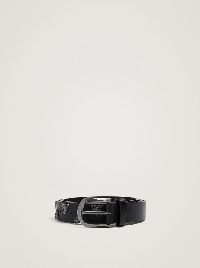 Belt With Tacks, Black, hi-res
