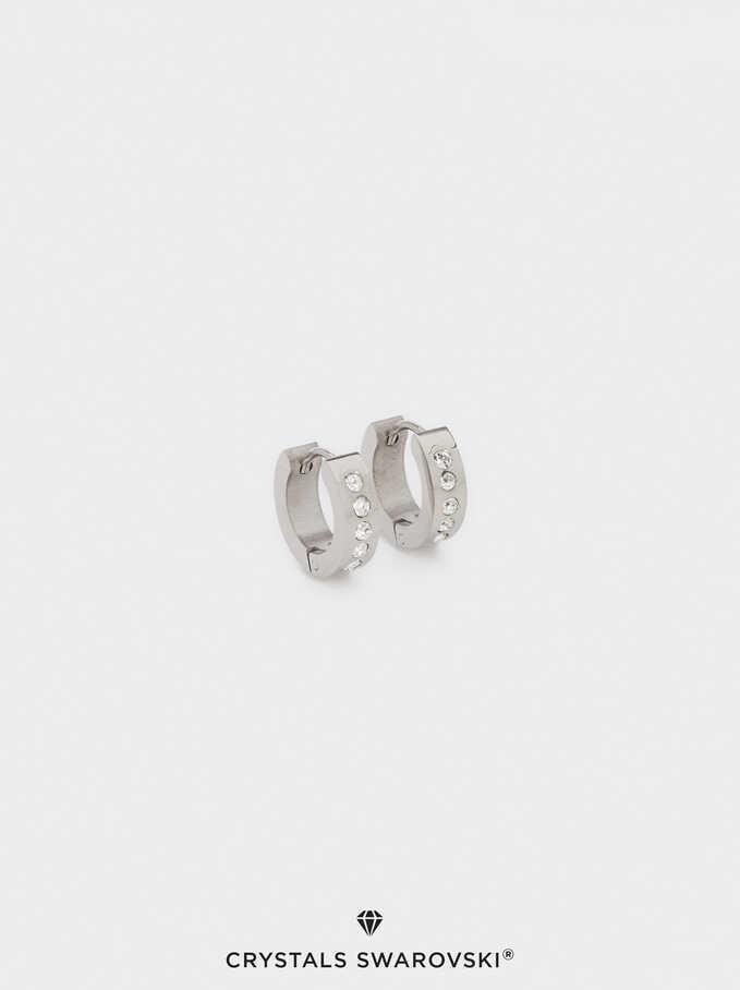Short Stainless Steel Swarovski Crystals Hoop Earrings, Silver, hi-res