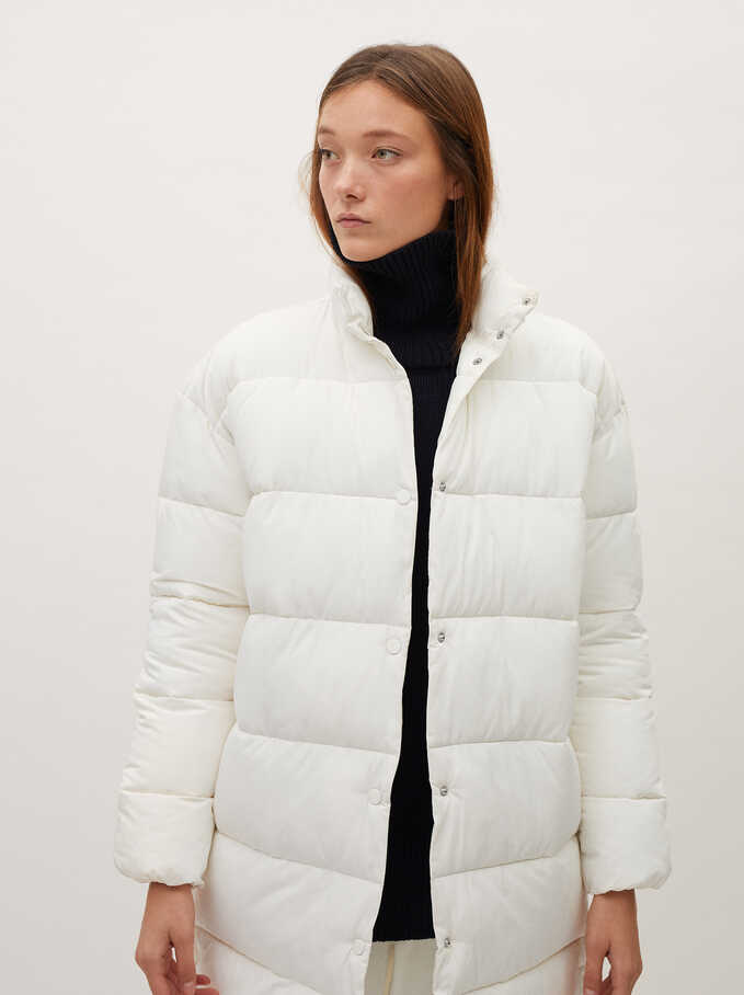 Quilted Coat With Pockets, White, hi-res