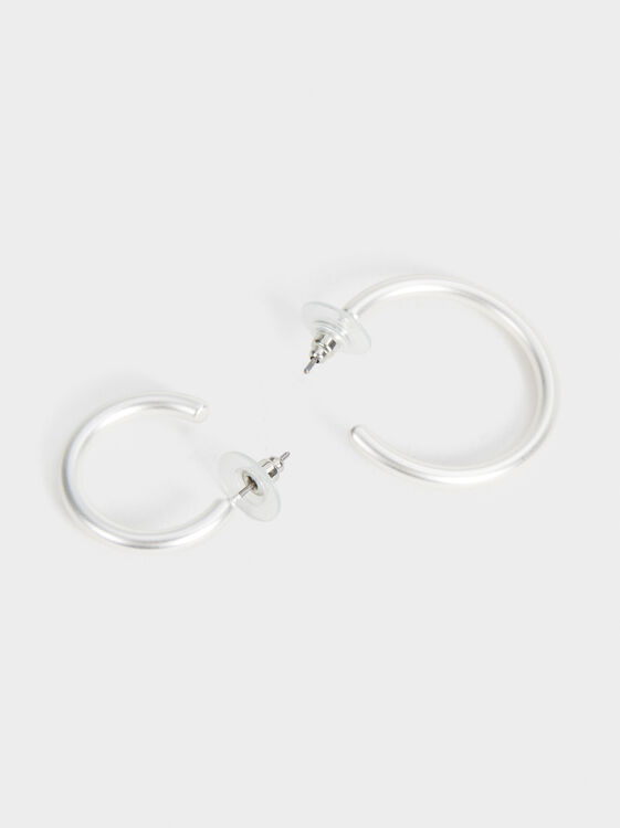 Set Of Basic Hoop Earrings, Silver, hi-res