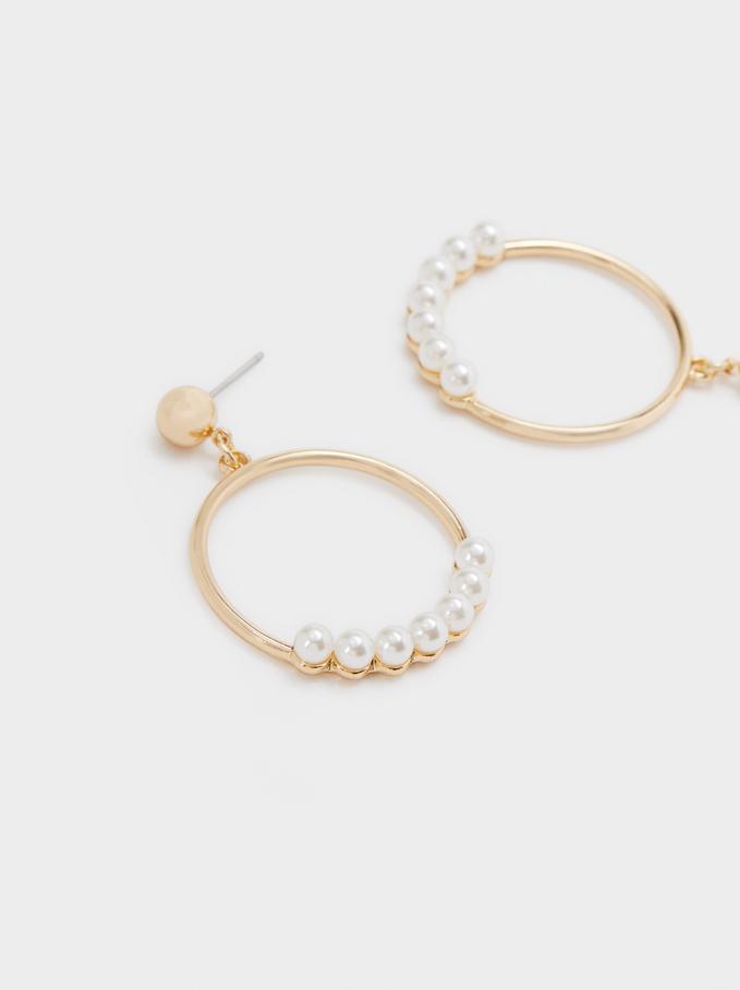 Medium Gold Metal Earrings, Golden, hi-res