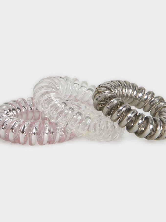 Set Of Metallic Spiral Hair Ties, Multicolor, hi-res