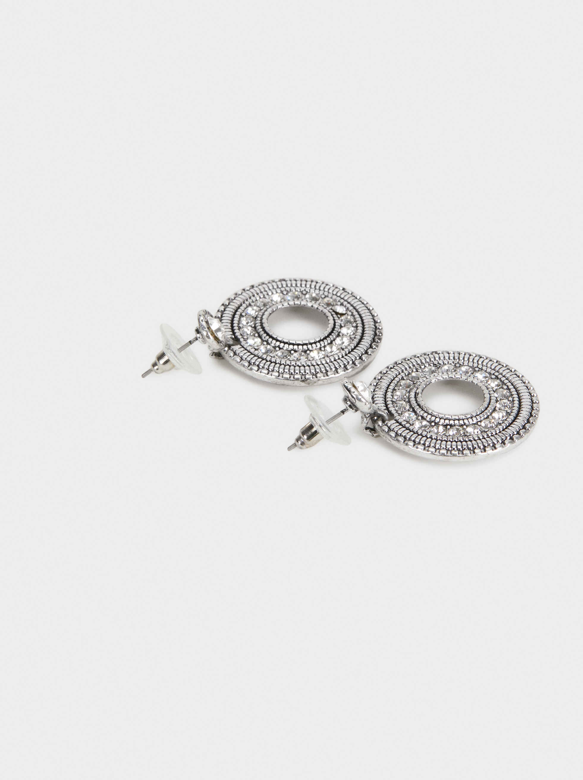 Medium Rhinestone Earrings, Silver, hi-res