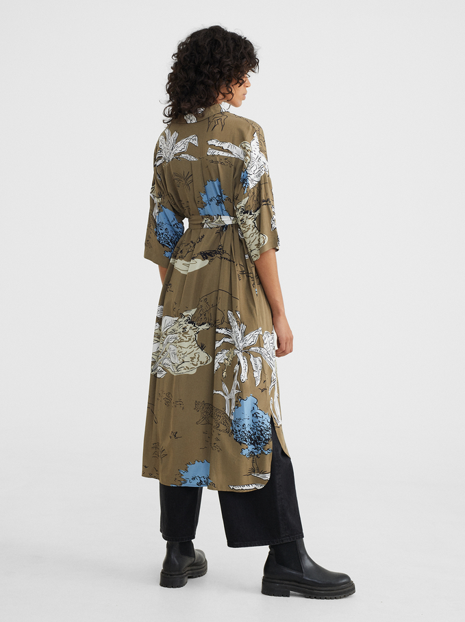 Robe Chemise Imprimée Avec Ceinture, Vert, hi-res
