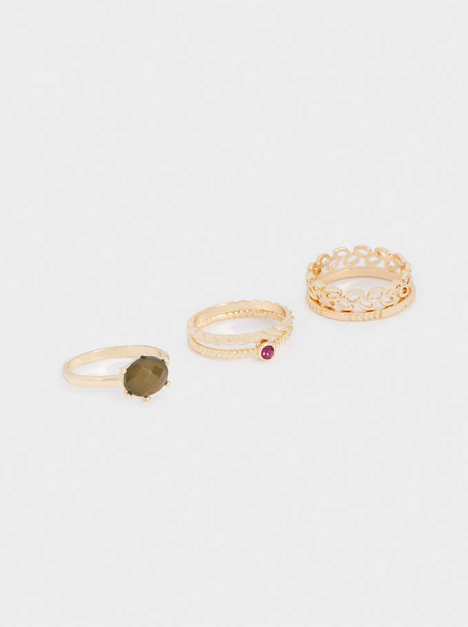 Set Of Rings With Rhinestones, Golden, hi-res