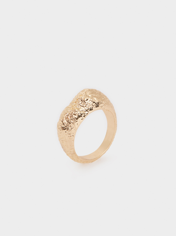 Gold-Toned Hammered Ring, Golden, hi-res