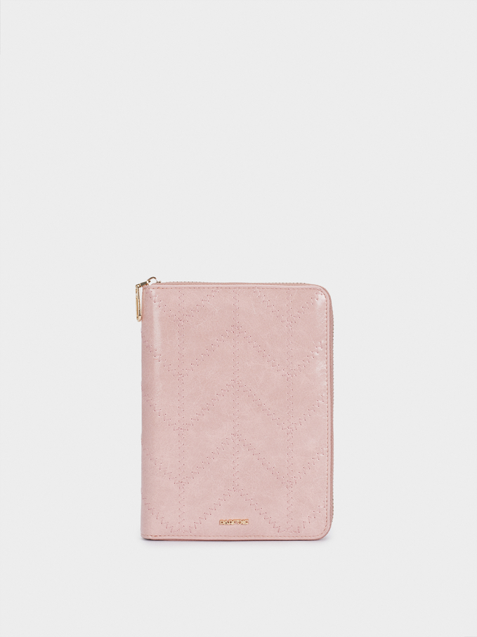 Notebook With Zip, Pink, hi-res