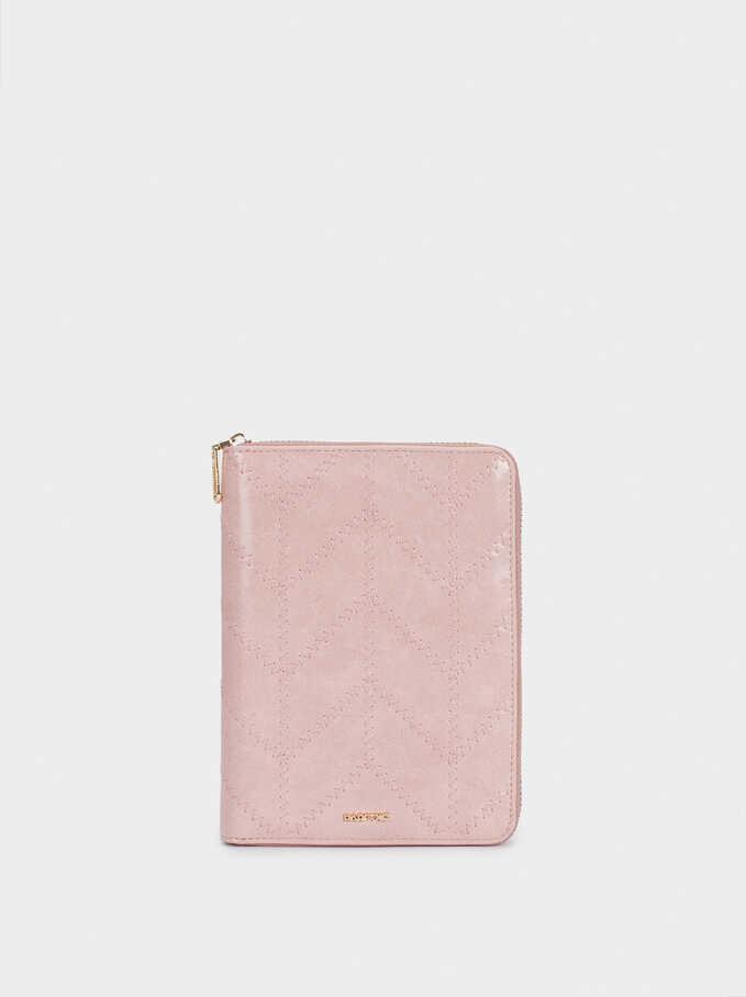 Notebook With Zip, Pink, hi-res