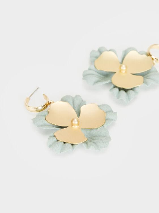 Cherry Blossom Medium Hoop Earrings, Green, hi-res