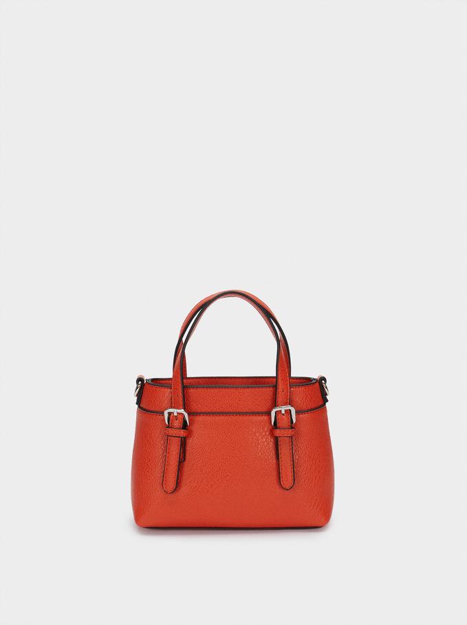 Embossed Tote Bag With Shoulder Strap, Orange, hi-res