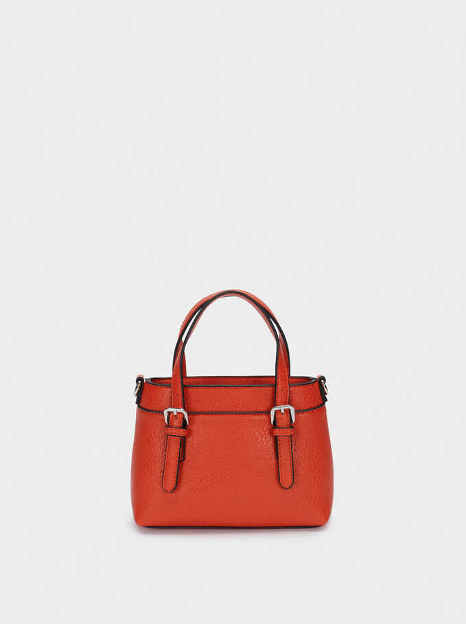 Embossed Tote Bag With Shoulder Strap, Orange, hi-res