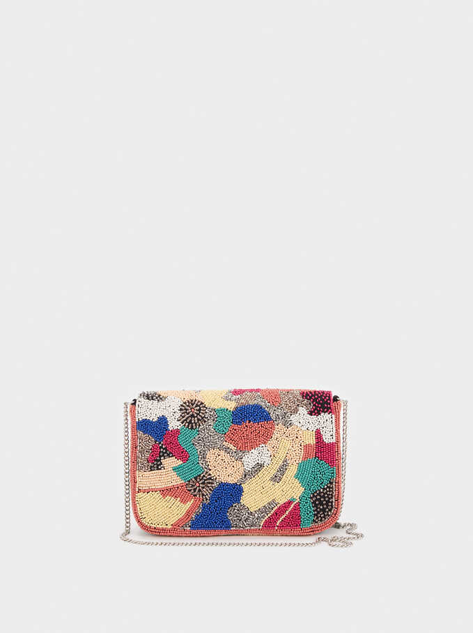 Beaded Party Clutch, Pink, hi-res