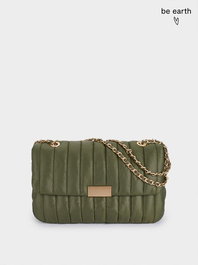 Recycled Nylon Shoulder Bag, Khaki, hi-res