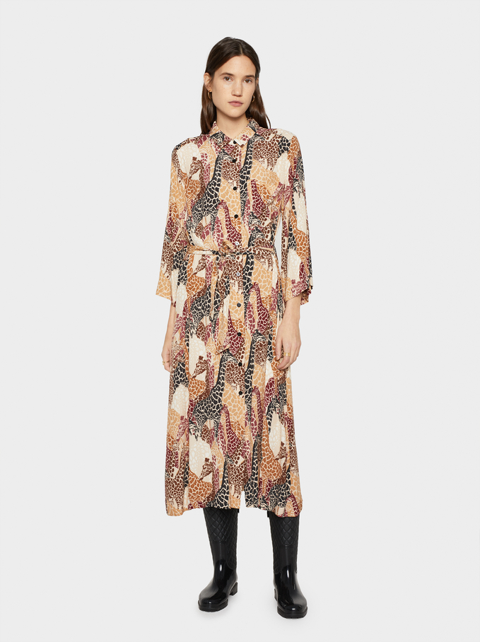Printed Shirt Dress With Belt, Beige, hi-res