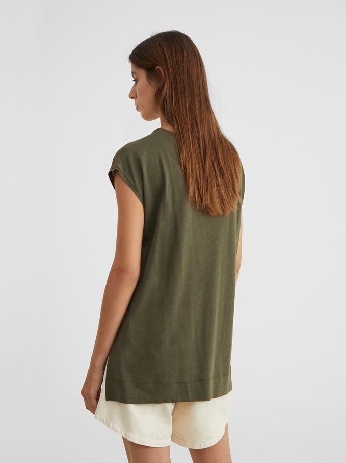 Basic V-Neck T-Shirt, Khaki, hi-res