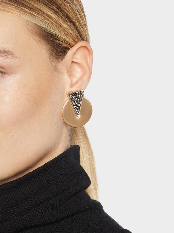 Medium Earrings With Rhinestones, Multicolor, hi-res