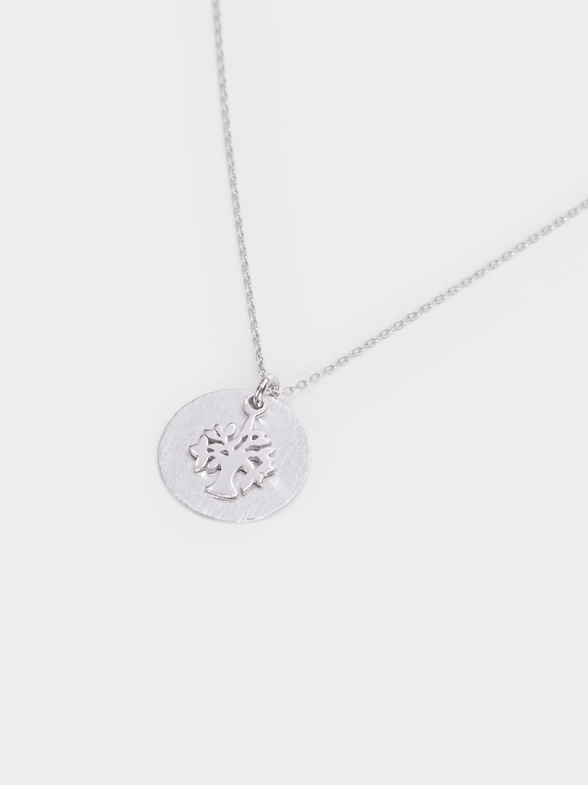 925 Silver Short Necklace With Tree Pendant, Silver, hi-res