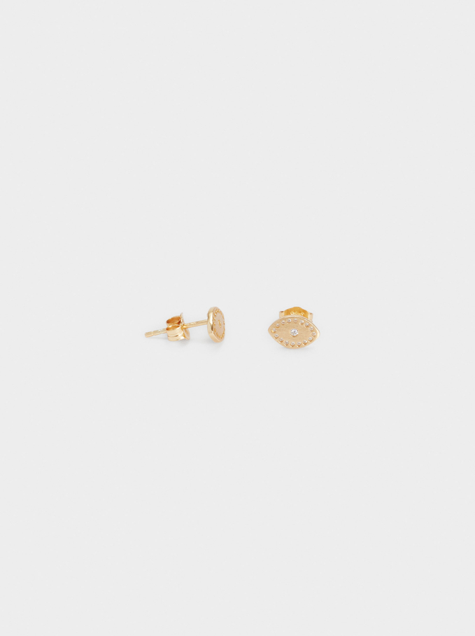 925 Silver Studs With Eye, Golden, hi-res