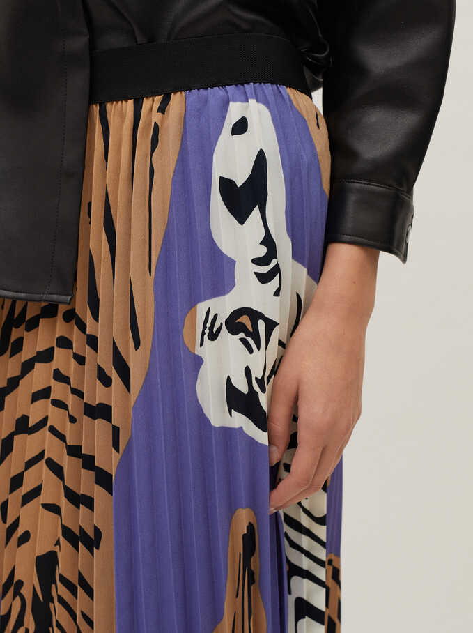 Pleated Skirt With An Animal Print, Blue, hi-res