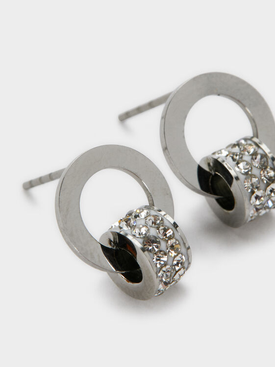 Stainless Steel Earrings, Silver, hi-res
