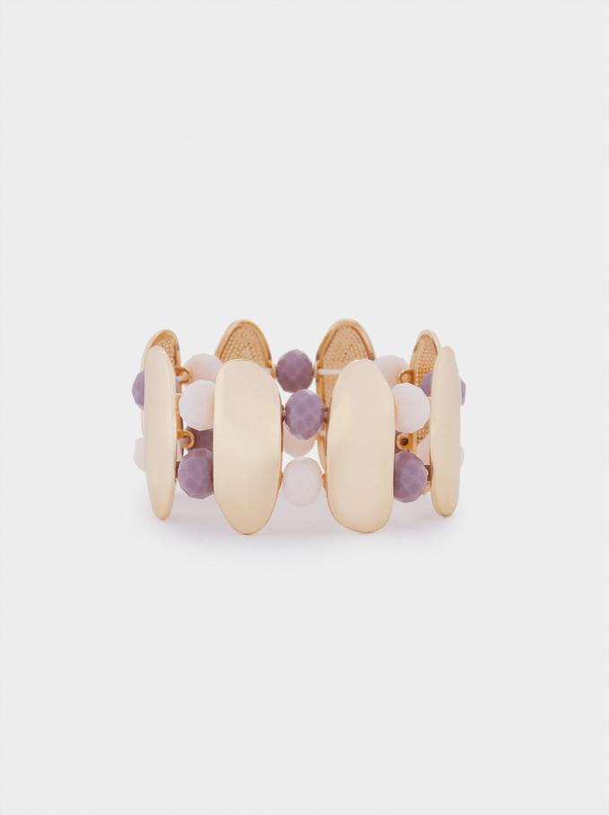 Elasticated Bead Bracelet, Violet, hi-res
