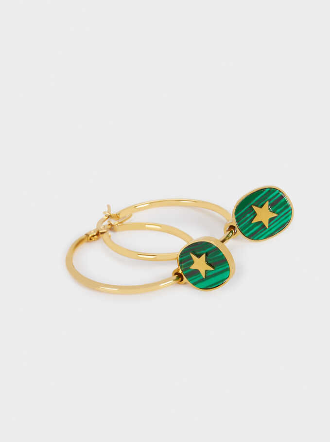 Stainless Steel Hoops With Stone And Star, Green, hi-res