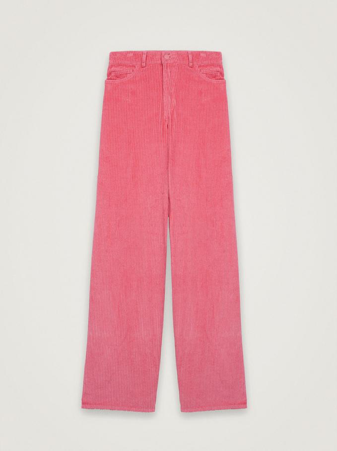 100% Cotton Straight Pants, Pink, hi-res