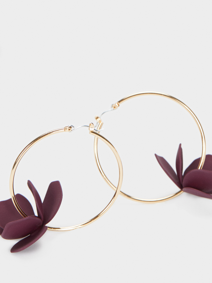 Watercolor Large Hoop Earrings With Flower, Violet, hi-res