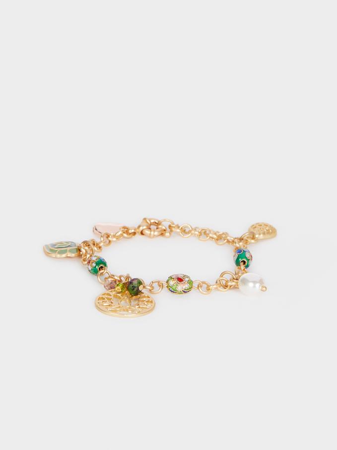 Gold Bracelet With Stones, Multicolor, hi-res