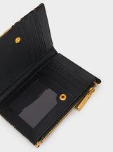 Small Printed Coin Purse, Black, hi-res