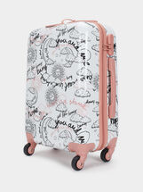 Printed Trolley Suitcase, Pink, hi-res